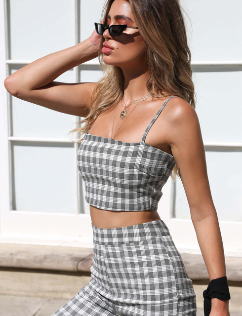 Zanda Top - Grey Check