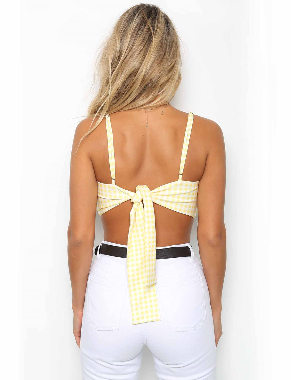 Polly Bralette - Yellow Check