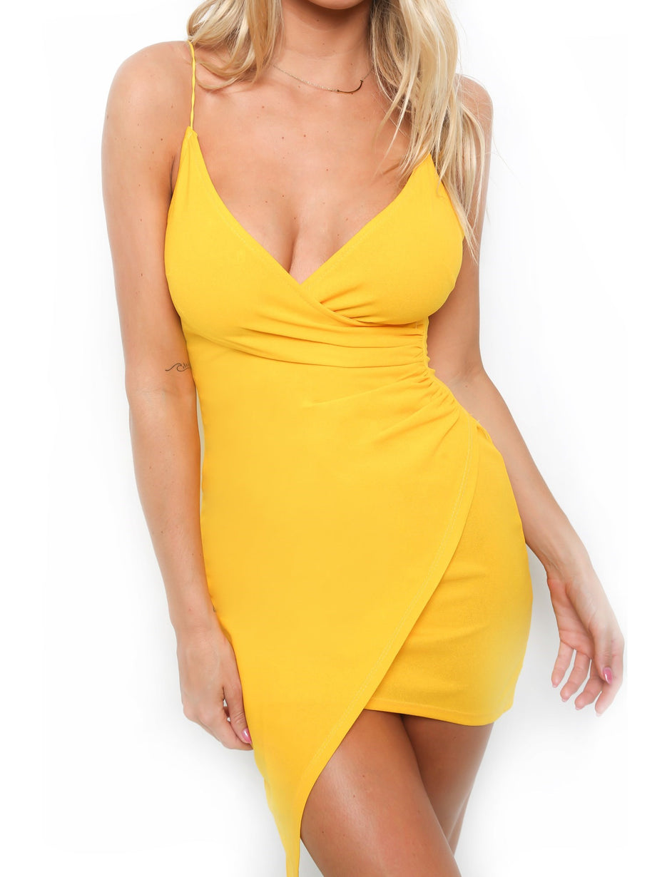 Selma Wrap Dress - Mustard