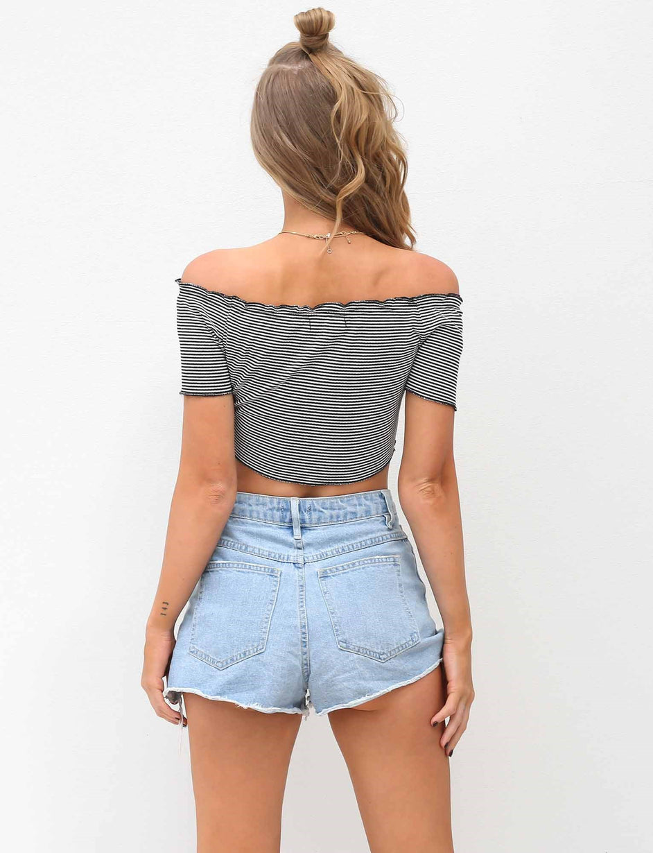 Danni Crop - Black Stripe