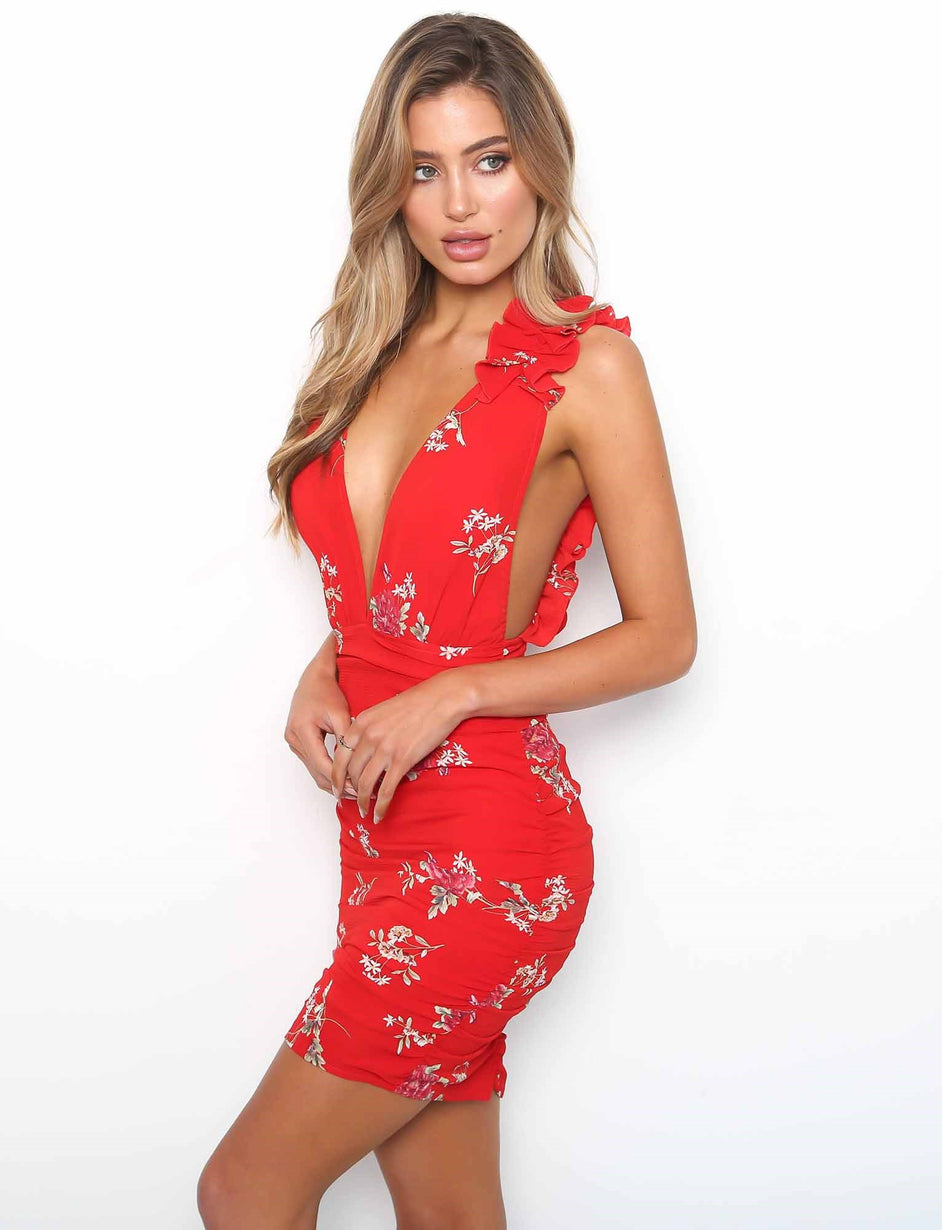 Giselle Dress - Red Floral