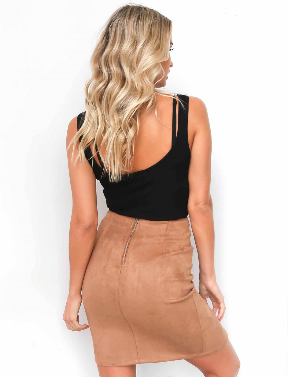 Surrender Lace Up Skirt - Mocha