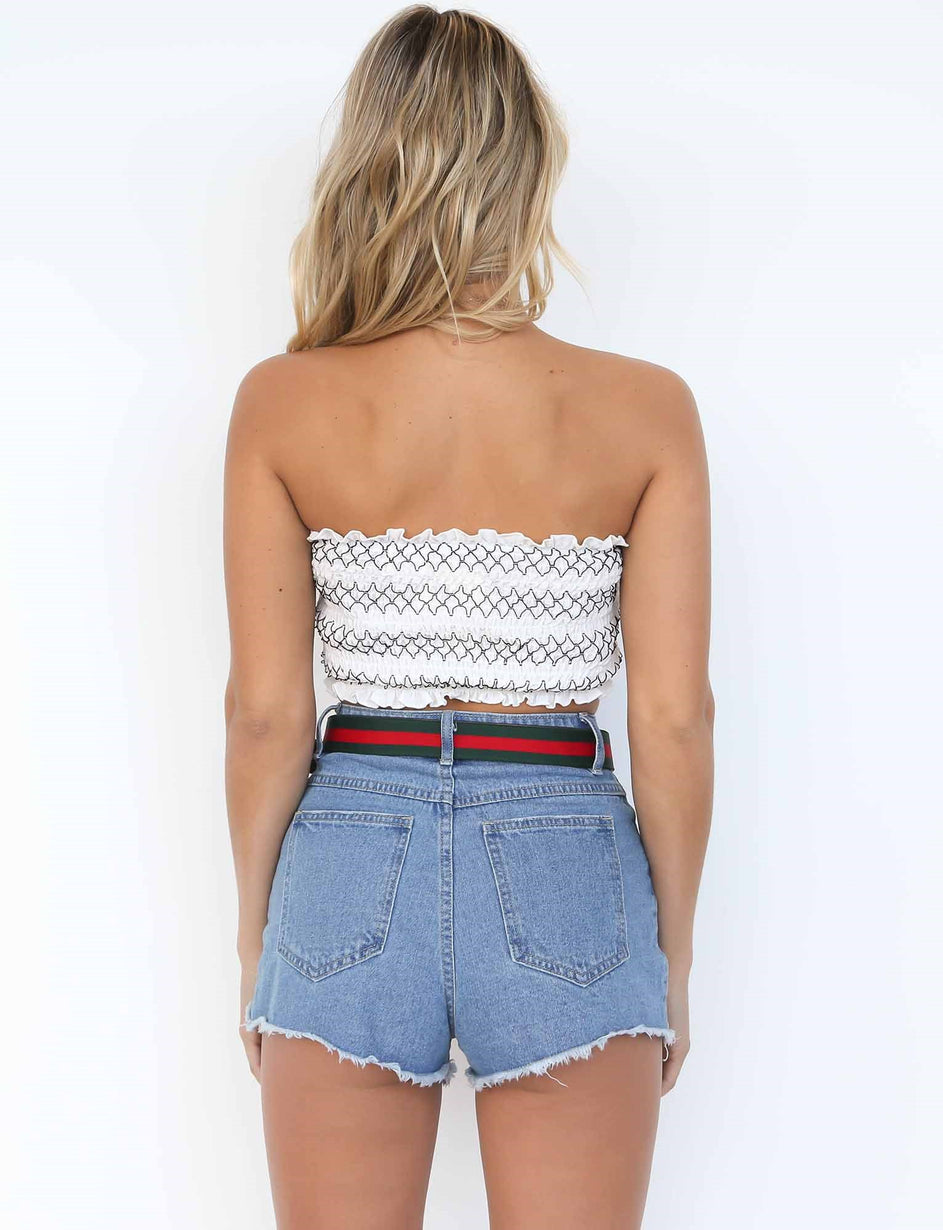 Flossy Crop - White