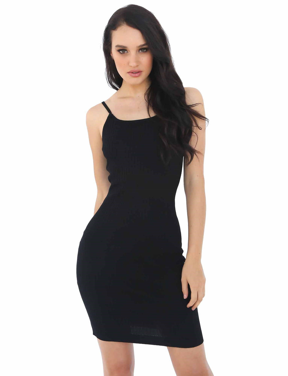 Rockin Ribbed Dress - Black