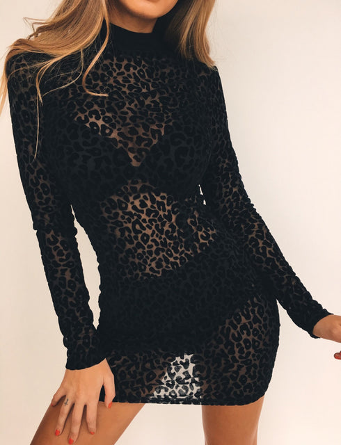Kendall Dress - Black Leopard Mesh