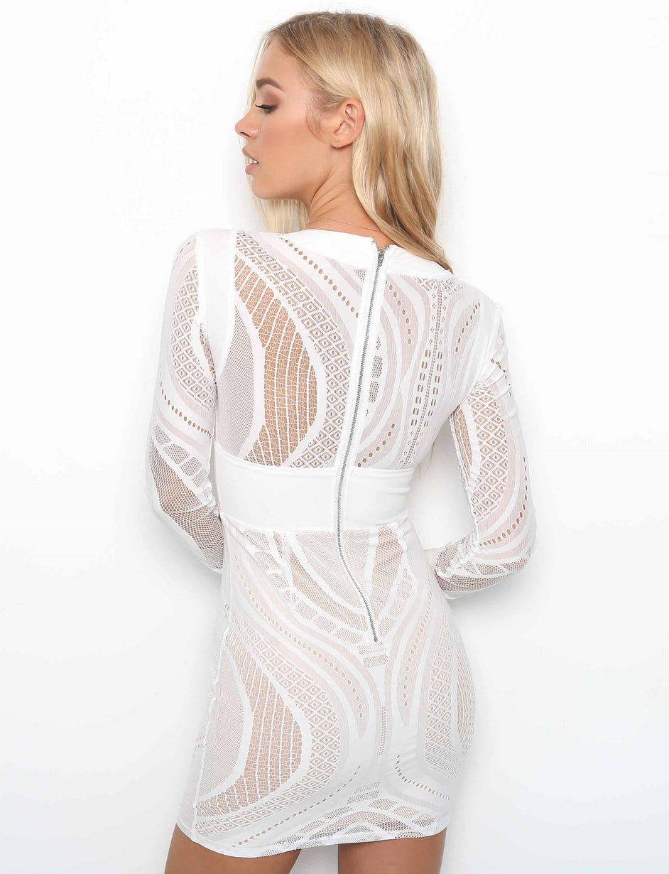 Define Me Dress - White Mesh