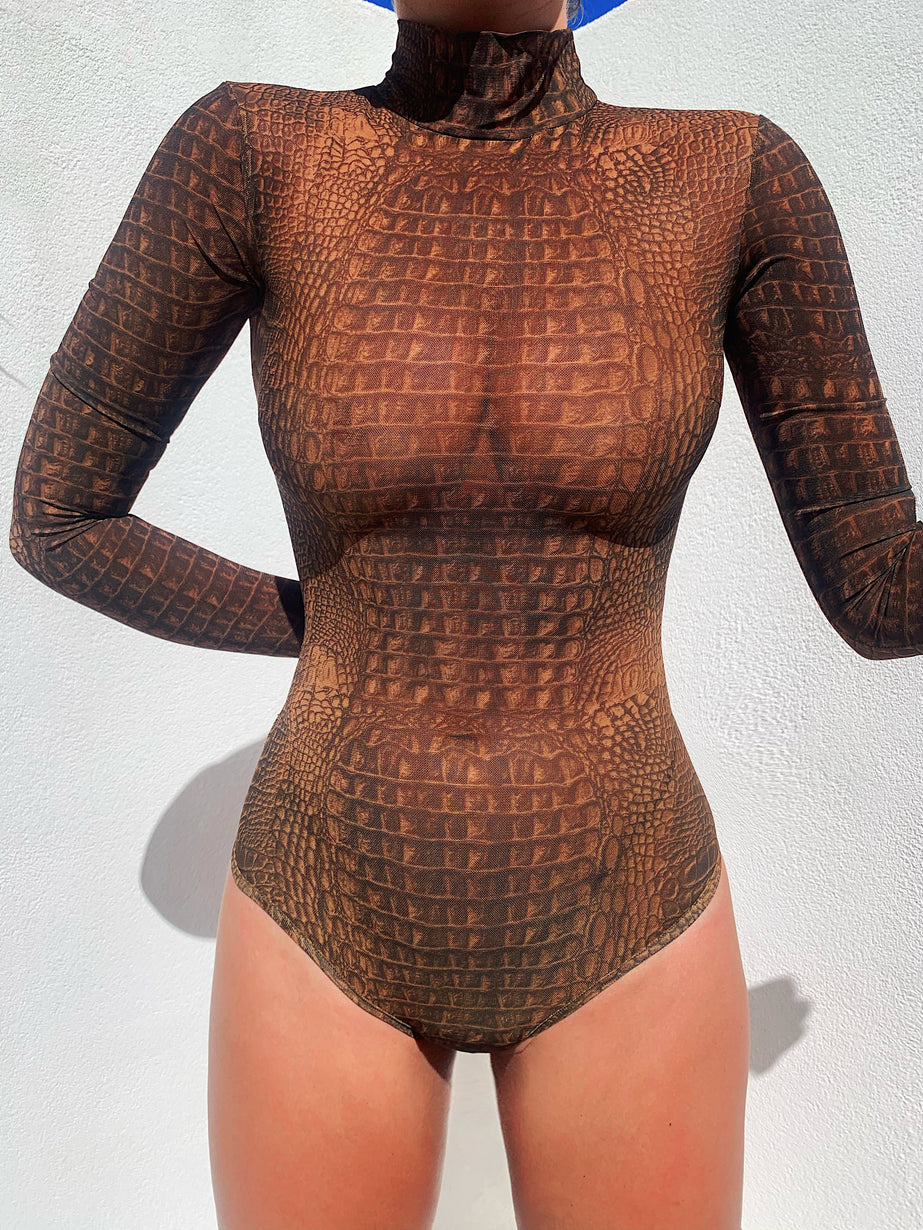 Kenzie Bodysuit 2.0 - Brown Croc