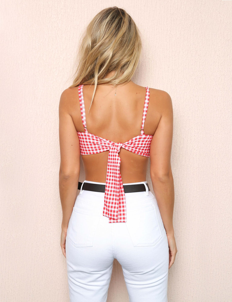 Polly Bralette - Red Check