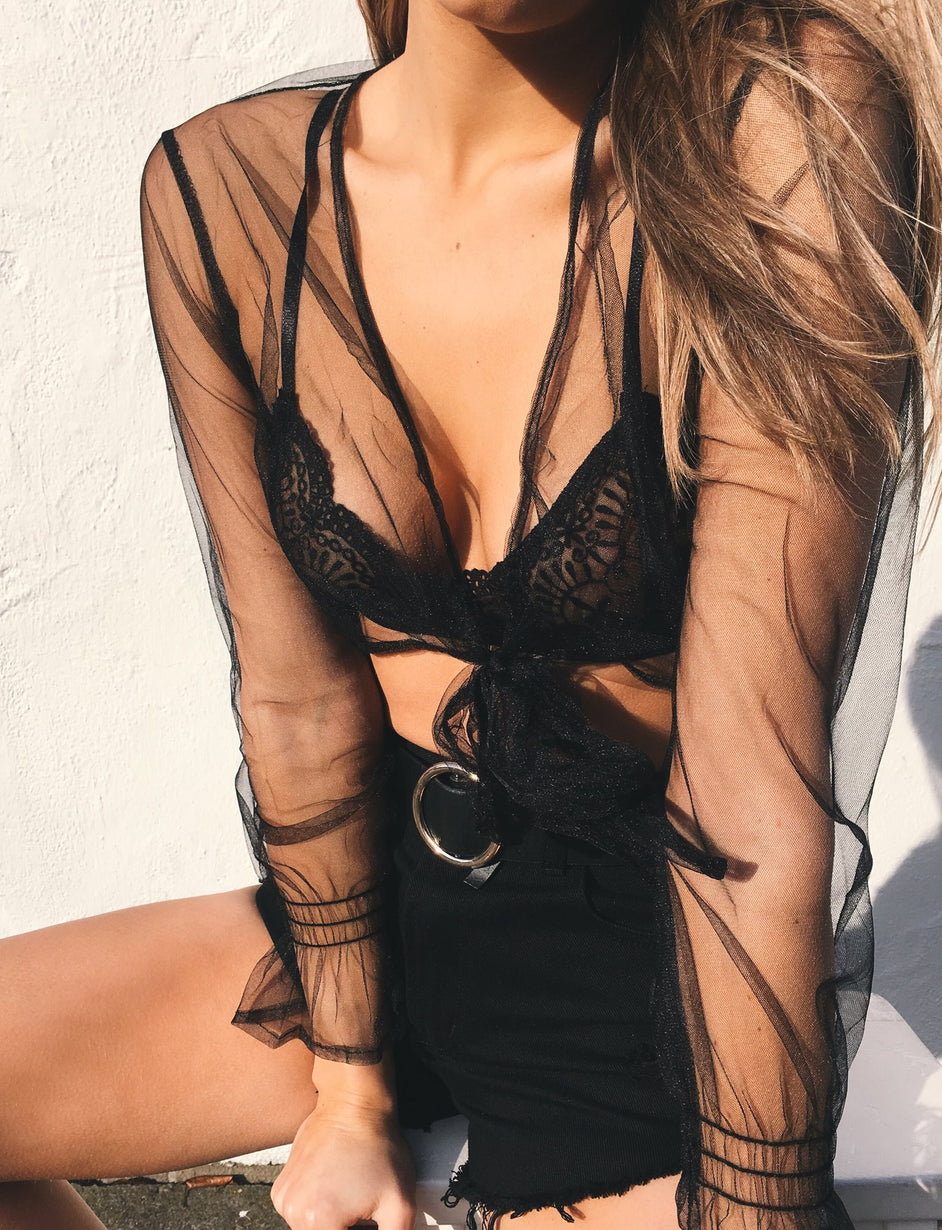 Willow Sheer Crop - Black