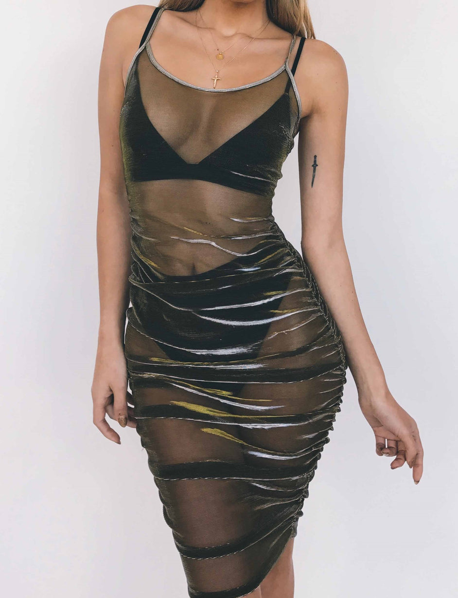 Selena Dress - Gunmetal Metallic