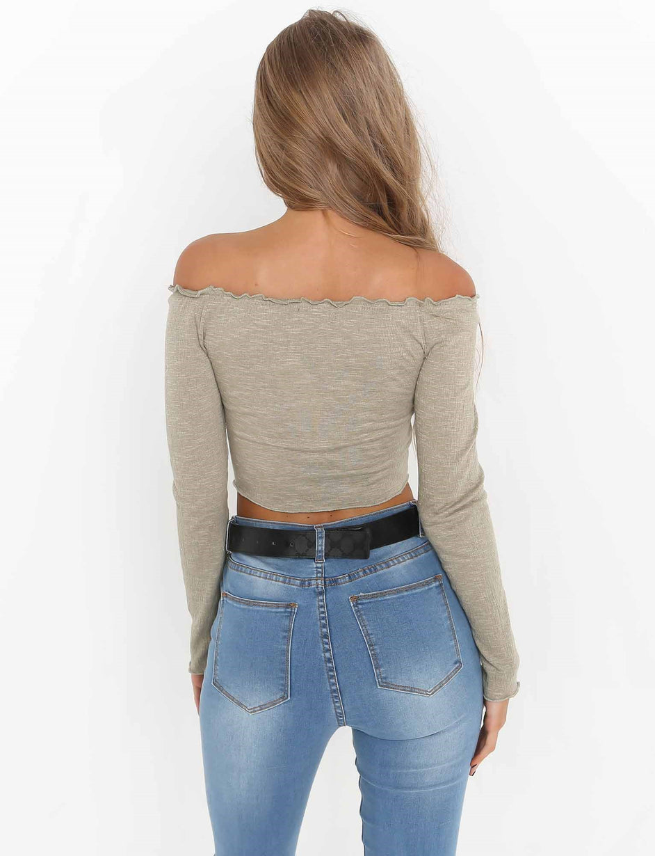 Molly Long Sleeve Crop - Khaki