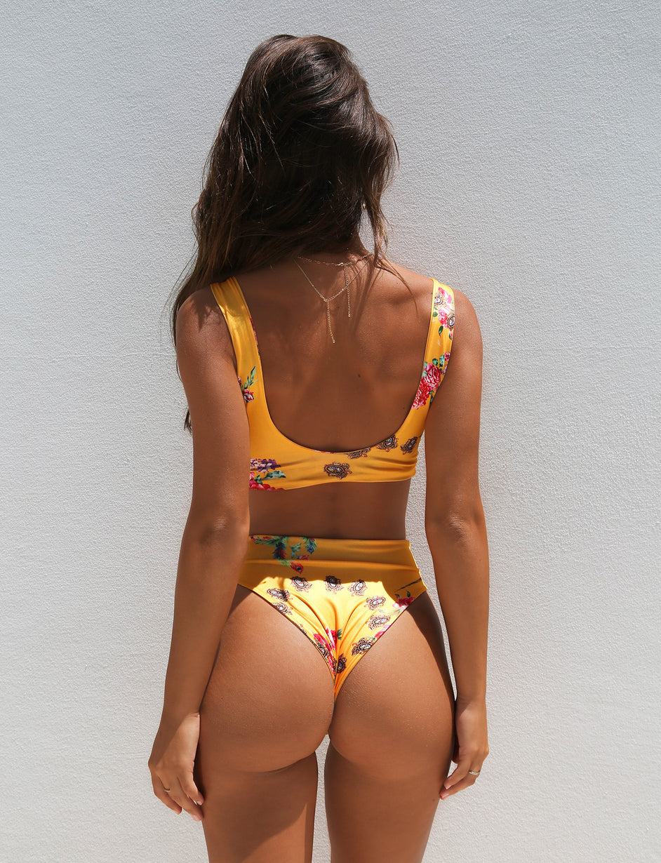 California Girl Bikini Set - Mustard Floral