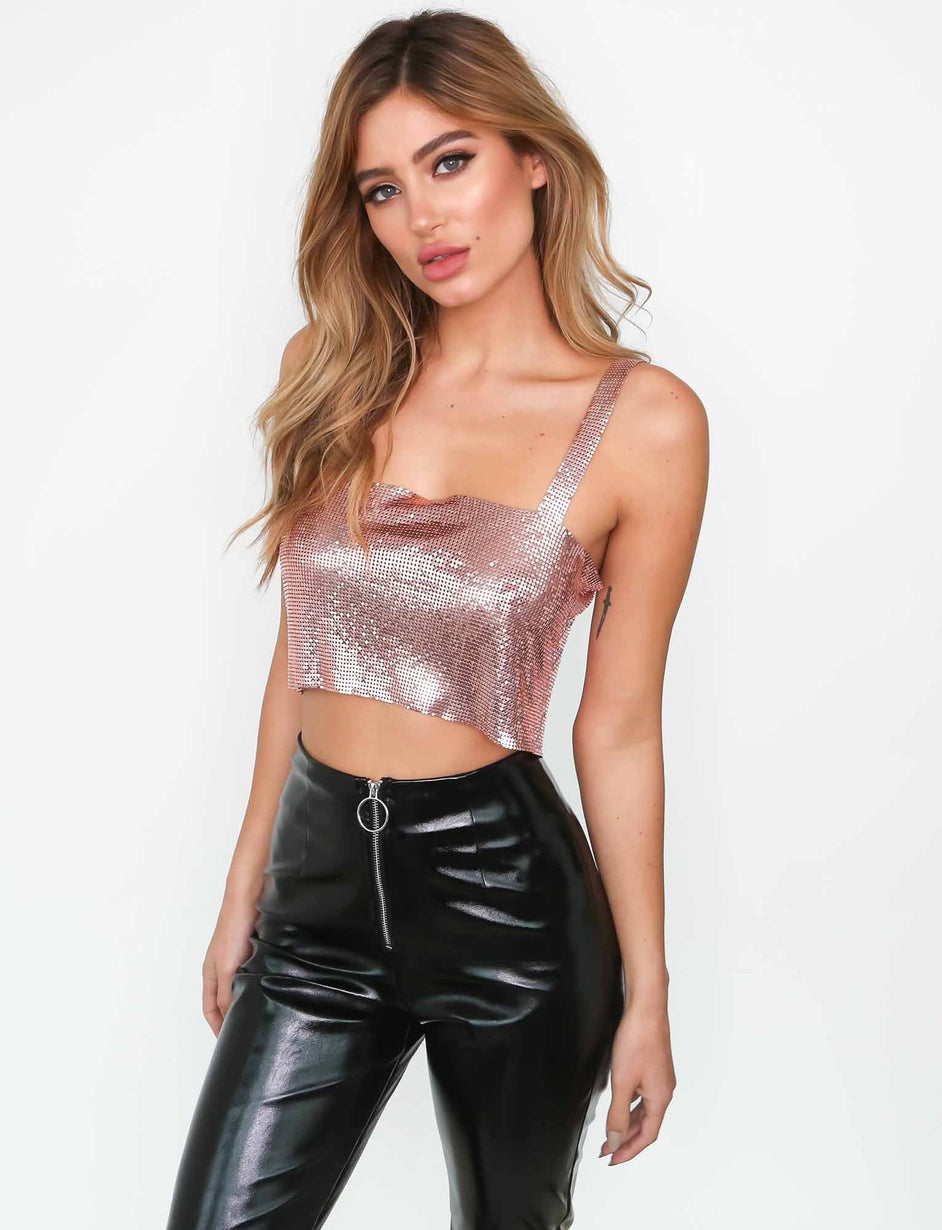Vogue Glomesh Crop - Pink