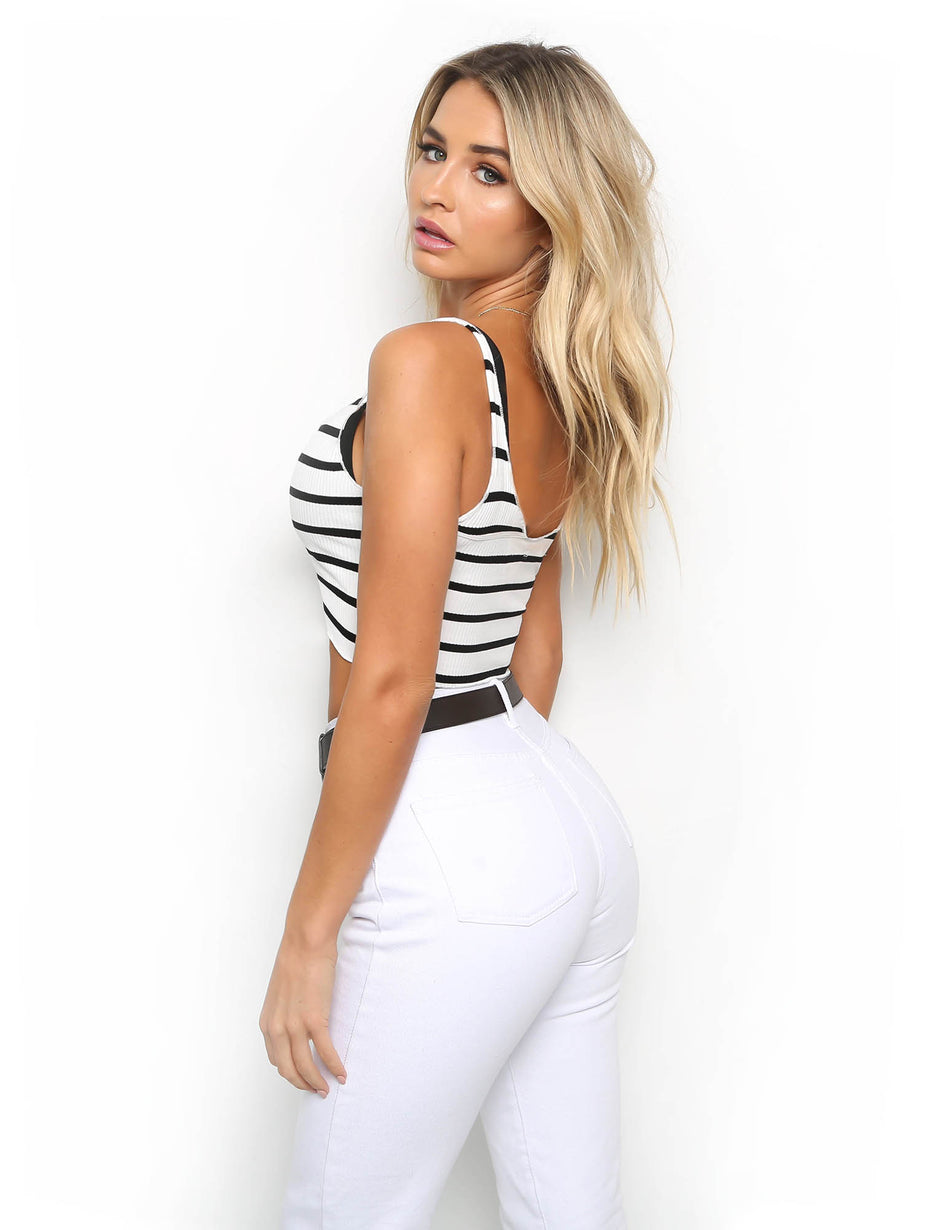 Sweet Dreams Crop - White Stripe