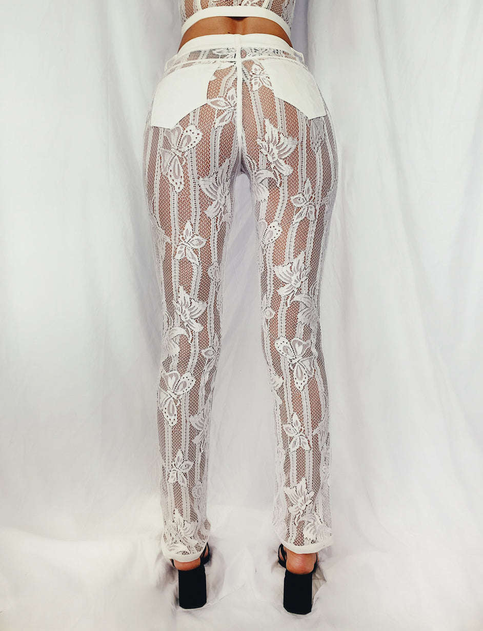 Yves Pant - White Lace