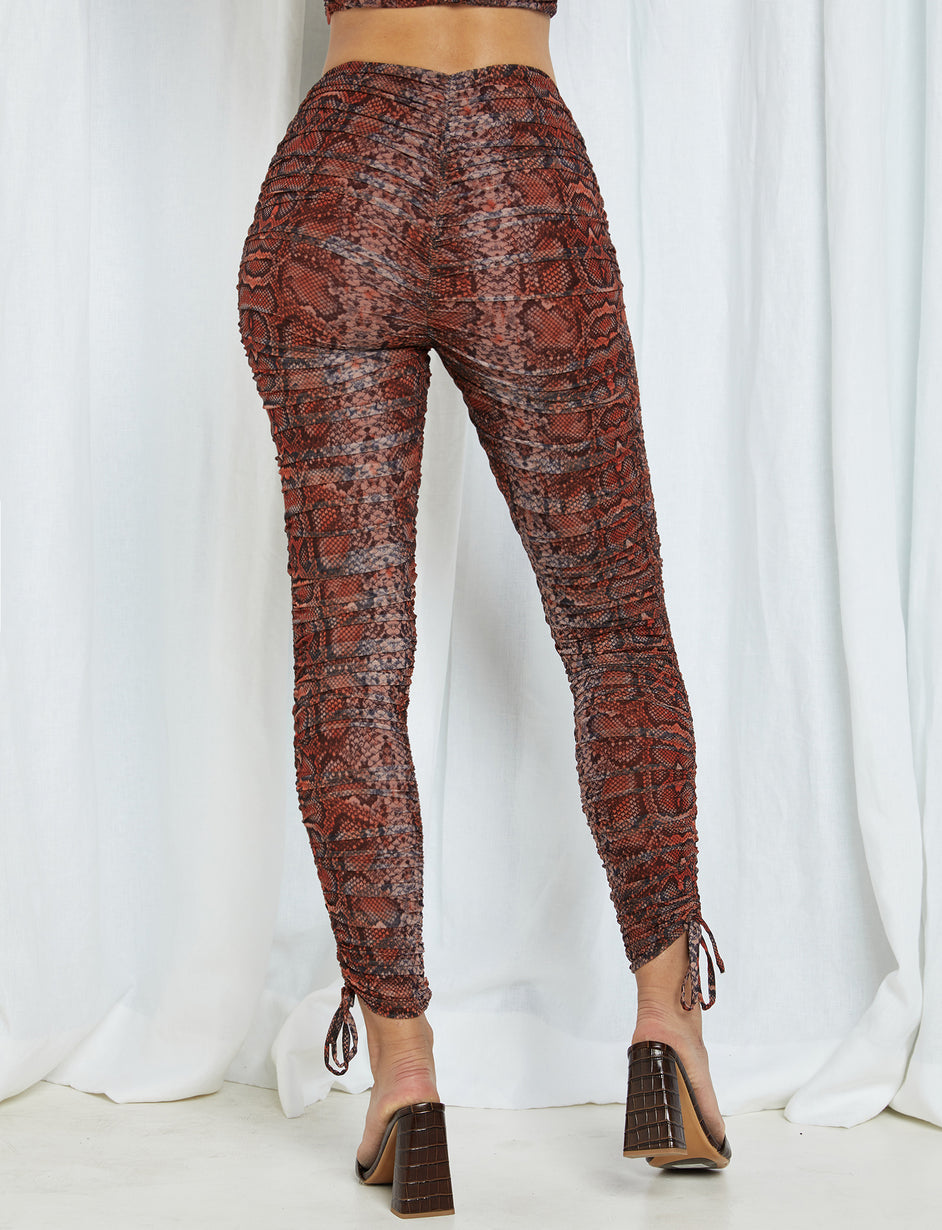 Colette Pant - Tan/Orange Snakeskin