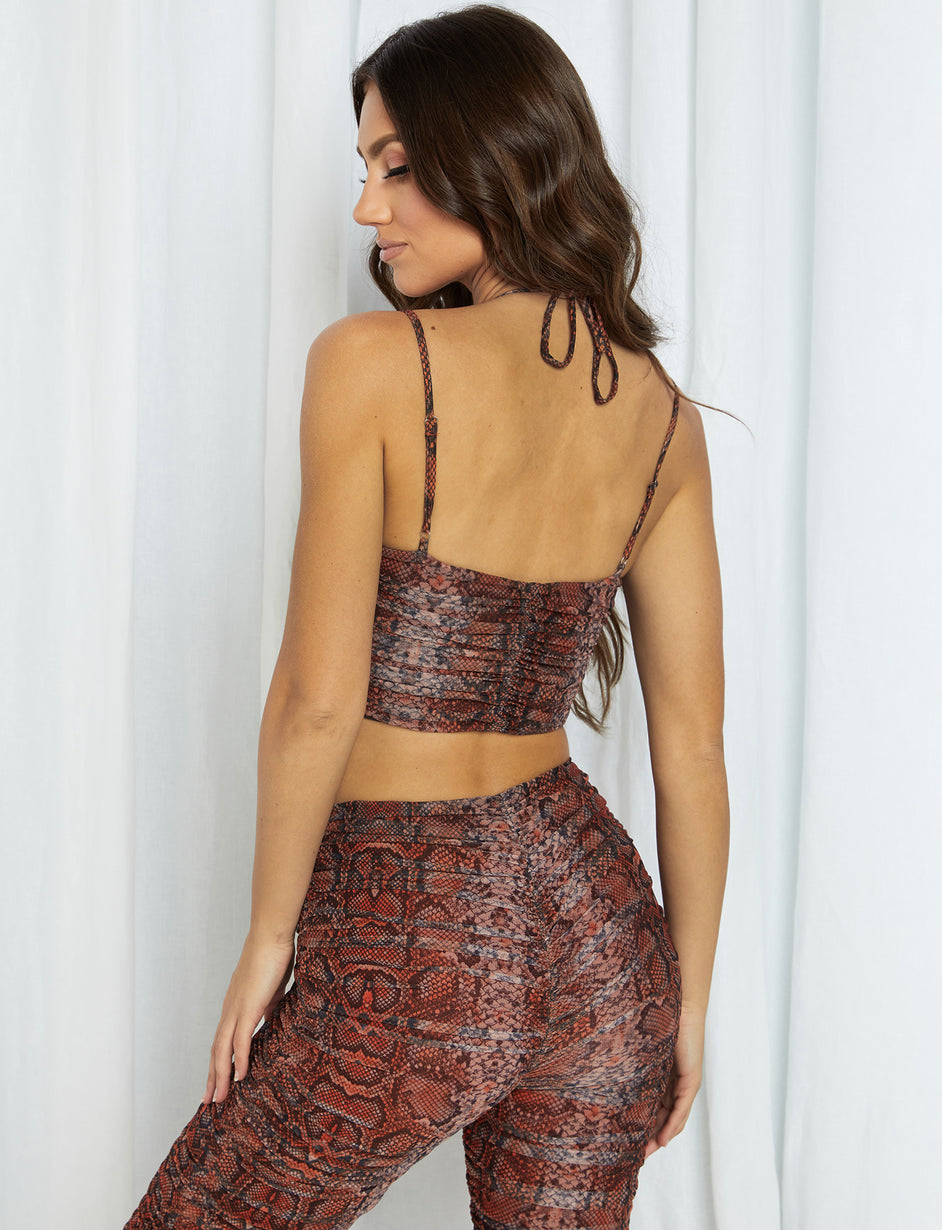 Colette Top - Tan/Orange Snakeskin