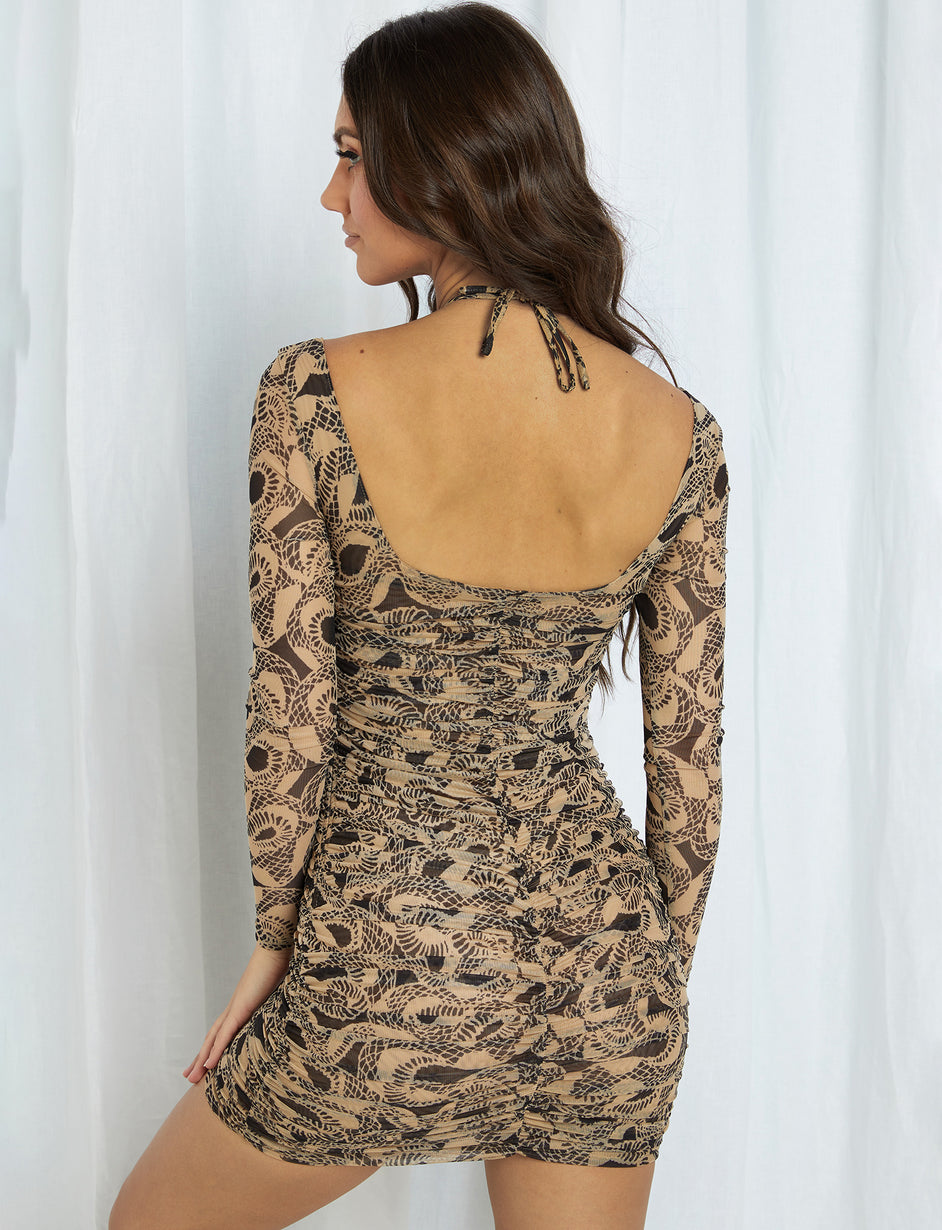 Colette Long Sleeve Dress - Tan/Black Snakeskin