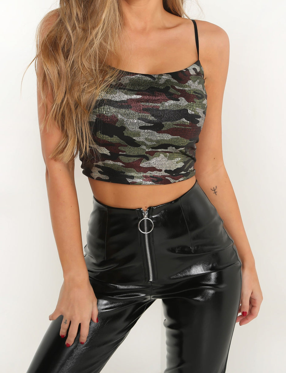 Penelope Crop - Camo Metallic