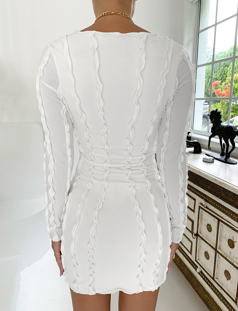 ROZIE LONG SLEEVE DRESS - WHITE