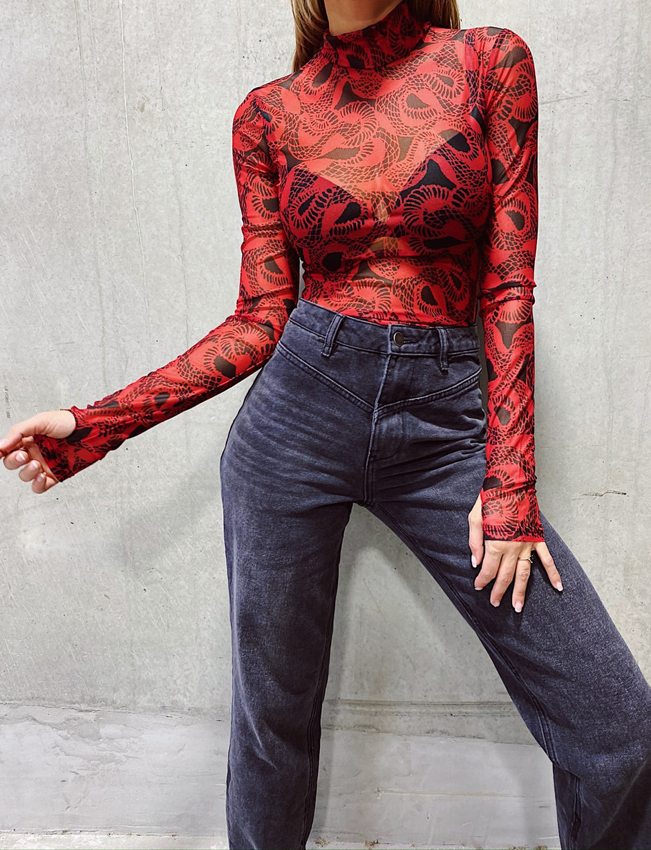 Medusa Bodysuit - Red/Black  Snakeskin