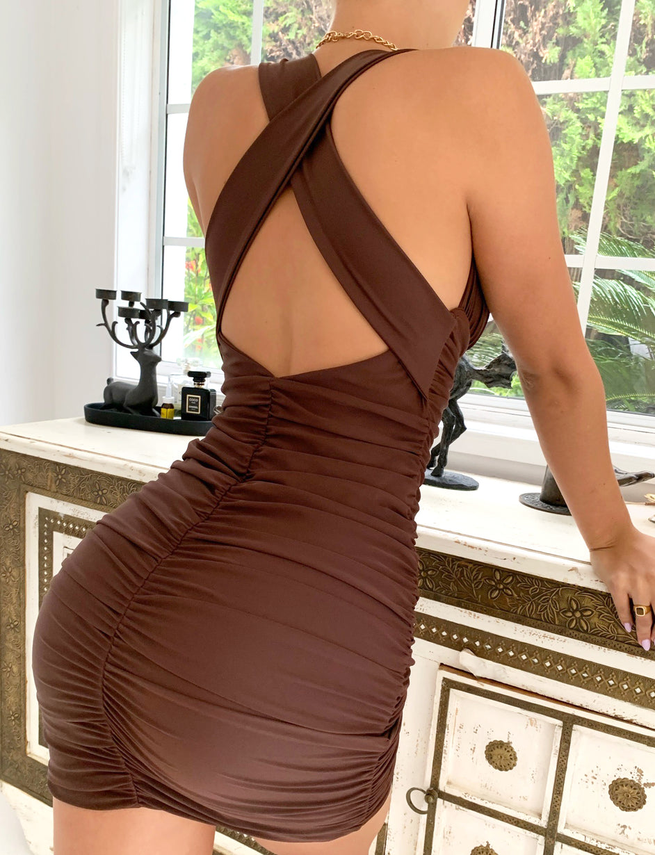CARMENS DRESS - CHOCOLATE