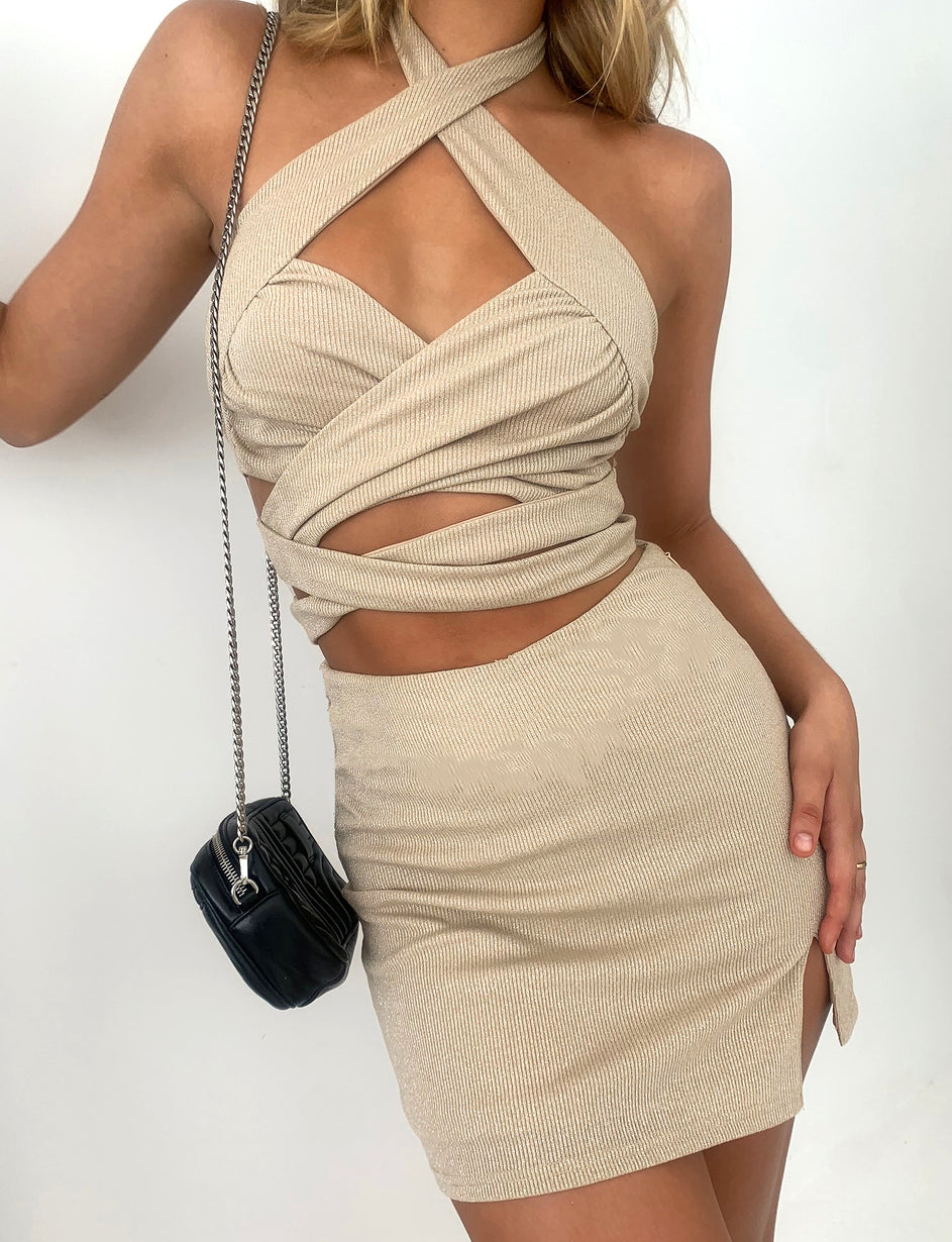 GEORGETTE SKIRT - GOLD