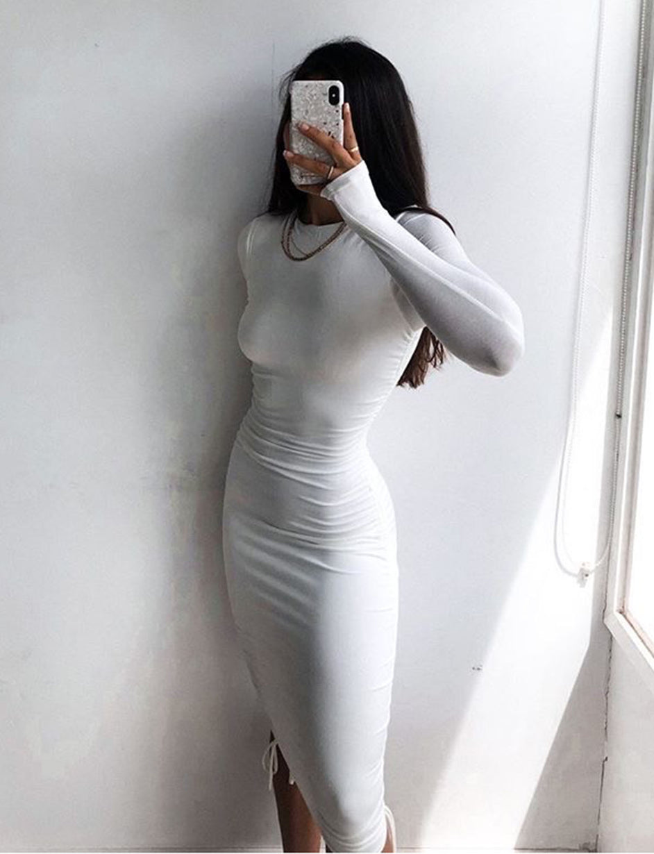 RIRI LONG SLEEVE DRESS - WHITE