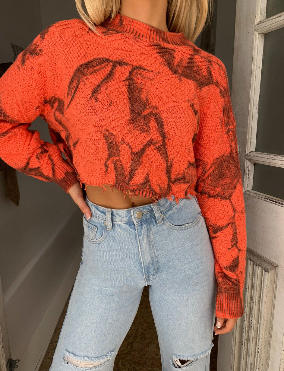 RAE JUMPER - ORANGE TIE DYE