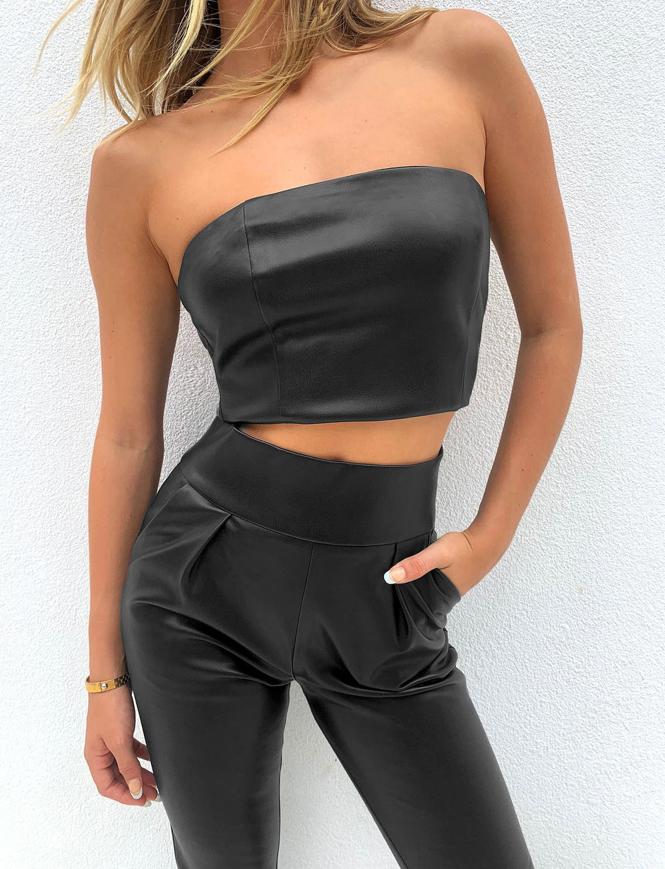 BACK IT UP PANT PU - BLACK