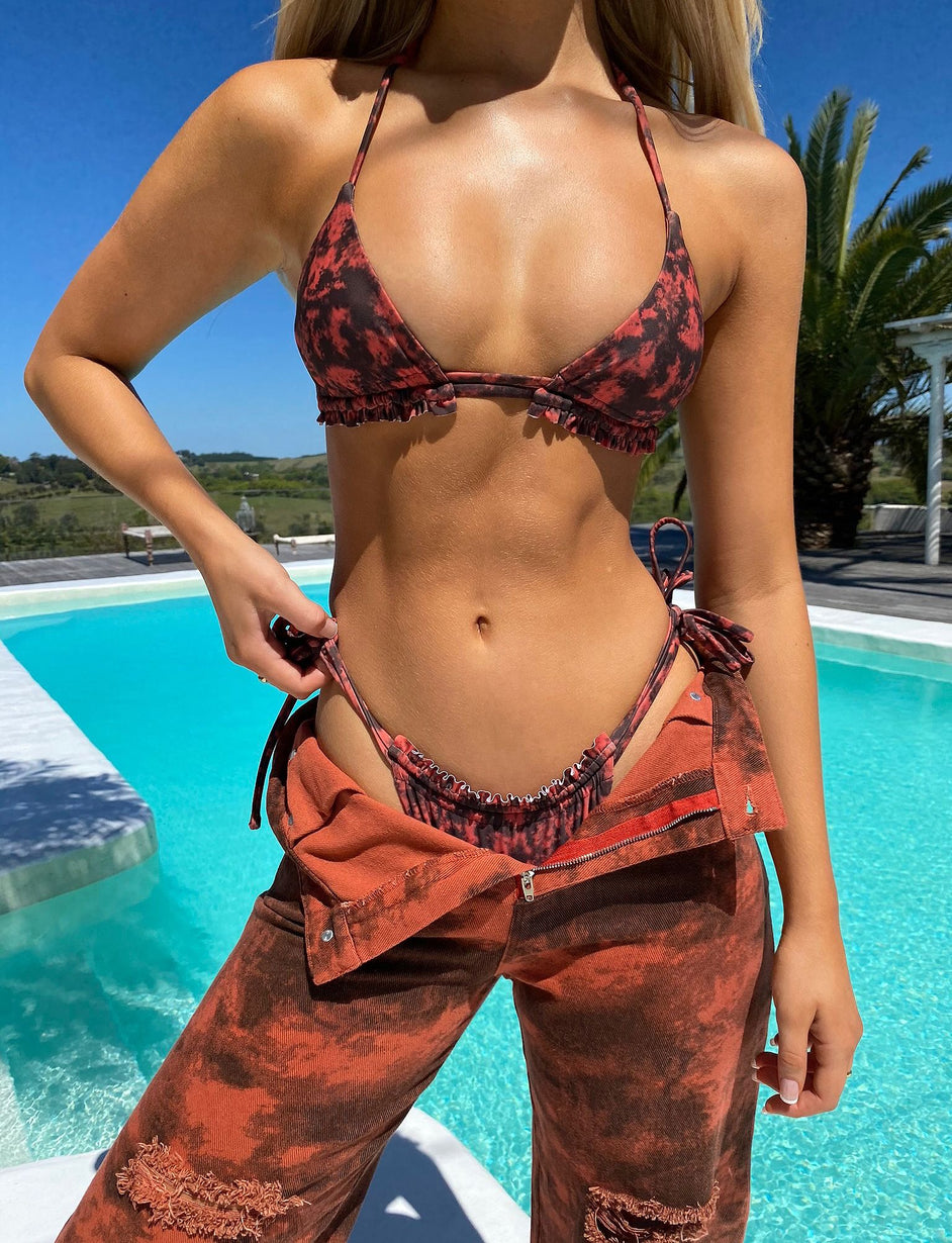 Nikki Bikini Top - Orange Tie Dye
