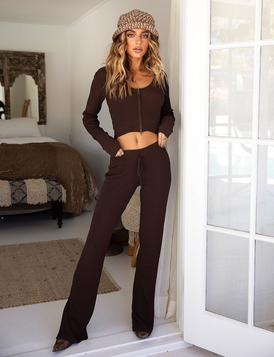 Thea Knit Pant - Chocolate