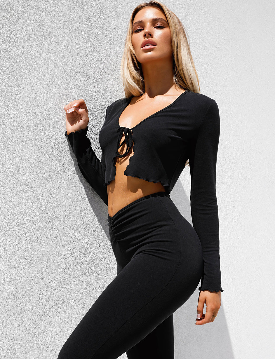 WAVES TOP - BLACK