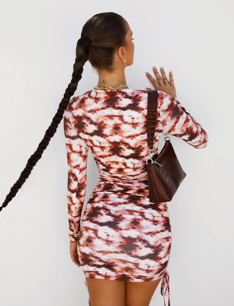 RIRI LONG SLEEVE DRESS - BROWN