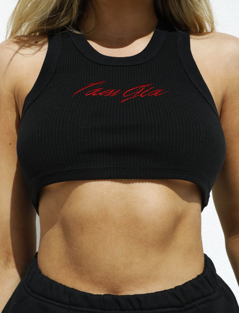 Vea Crop Tank - Black / Red
