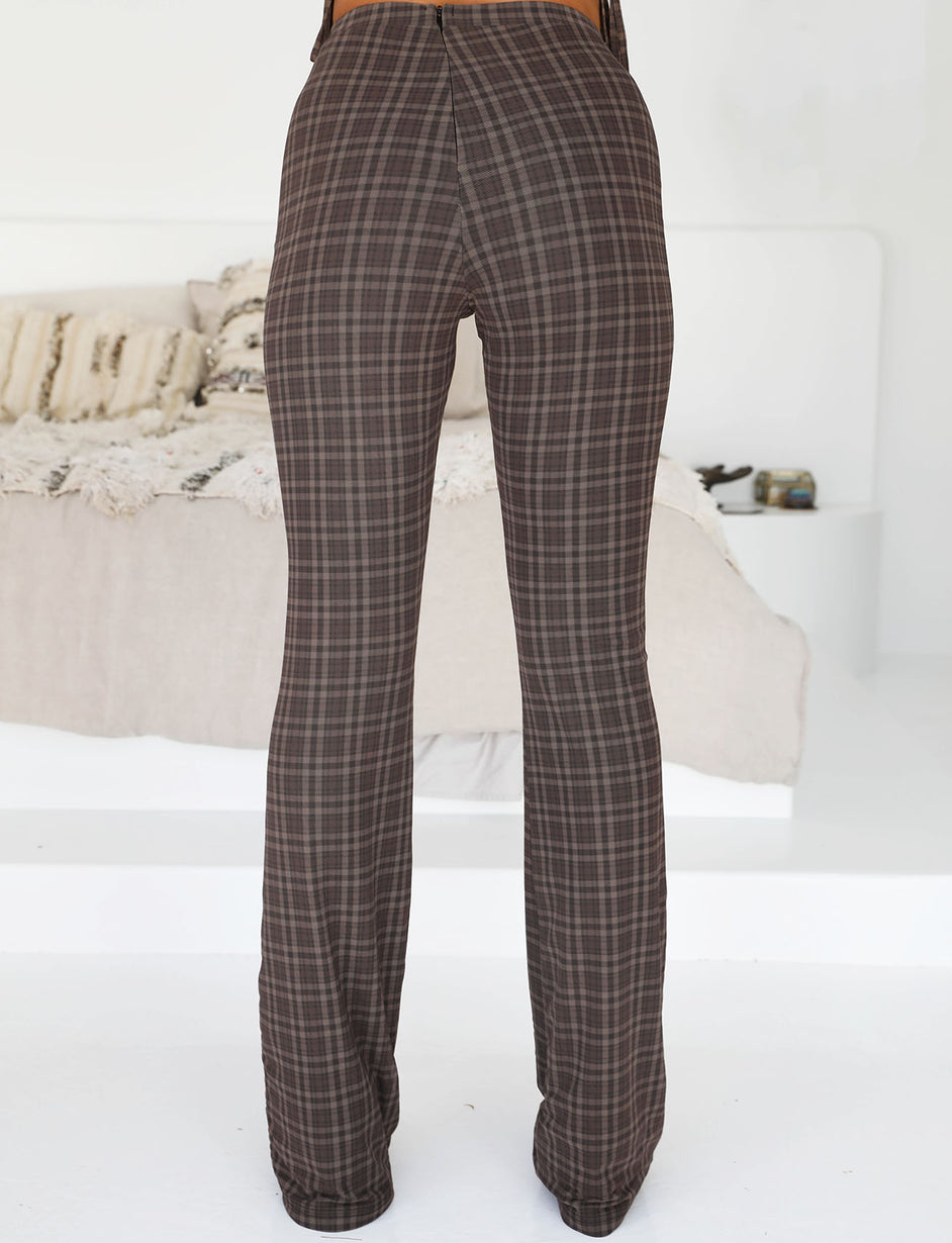 BLONDIE PANT - TAN CHECK
