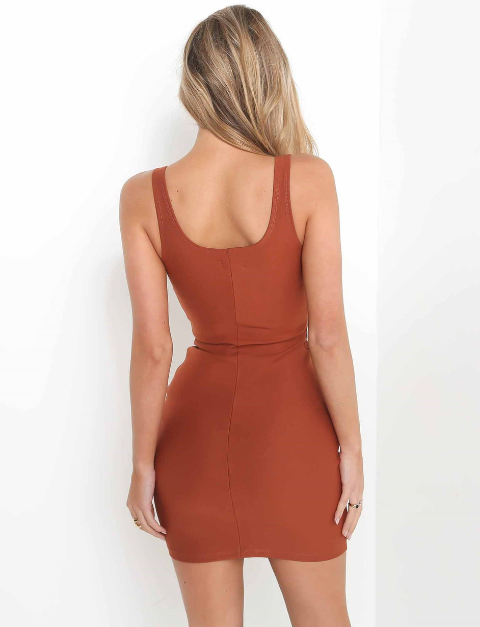 Kira Mini Dress - Rust