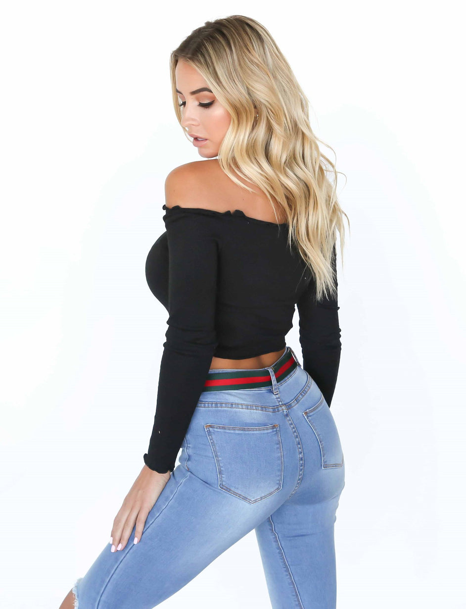 Molly Long Sleeve Crop - Black