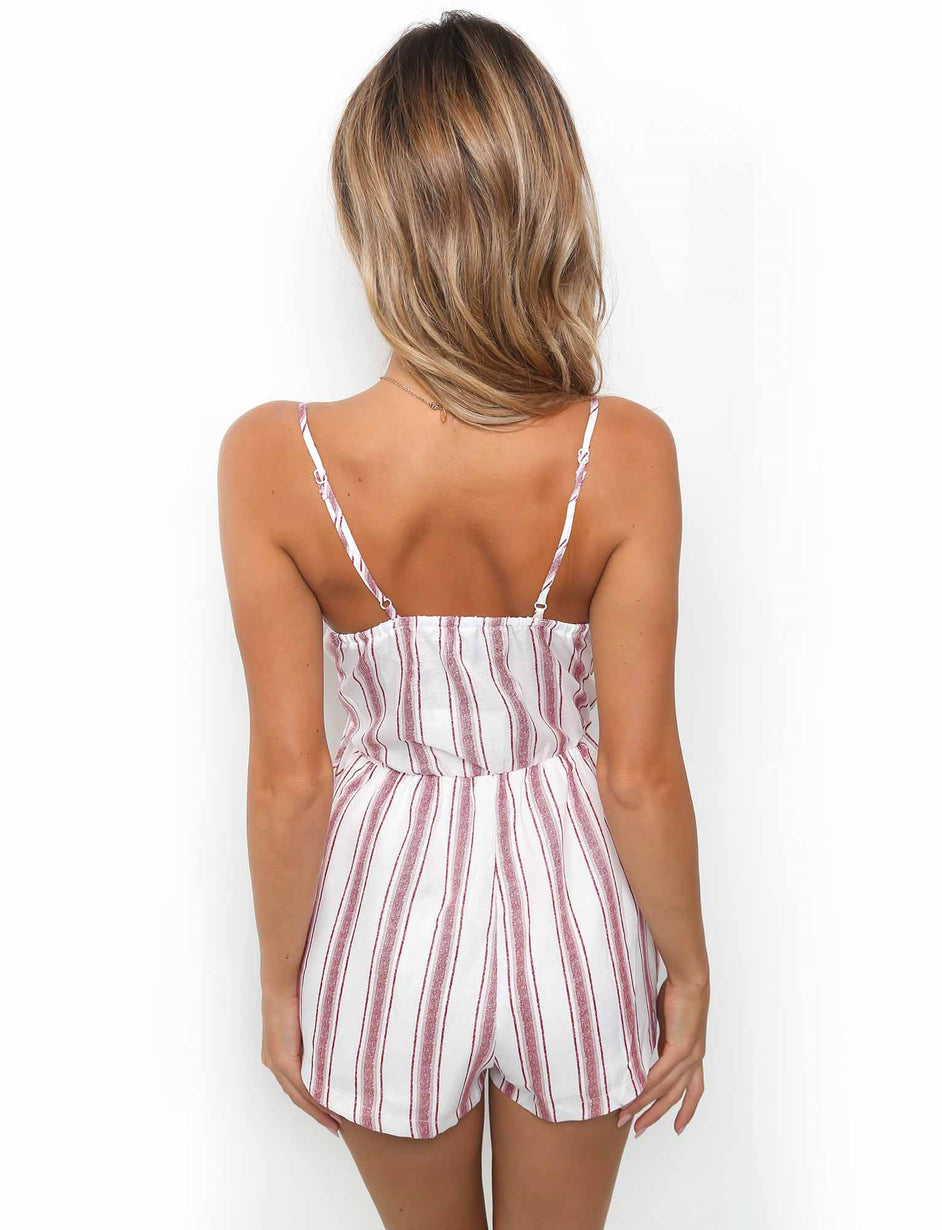 Pepper Playsuit - Red Stripe