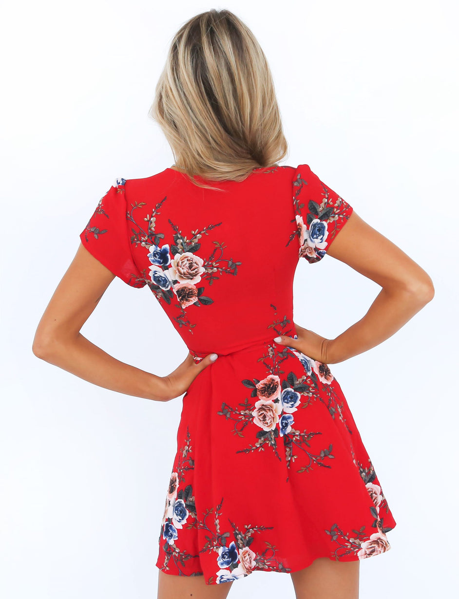 Perfect Day Wrap Dress - Red