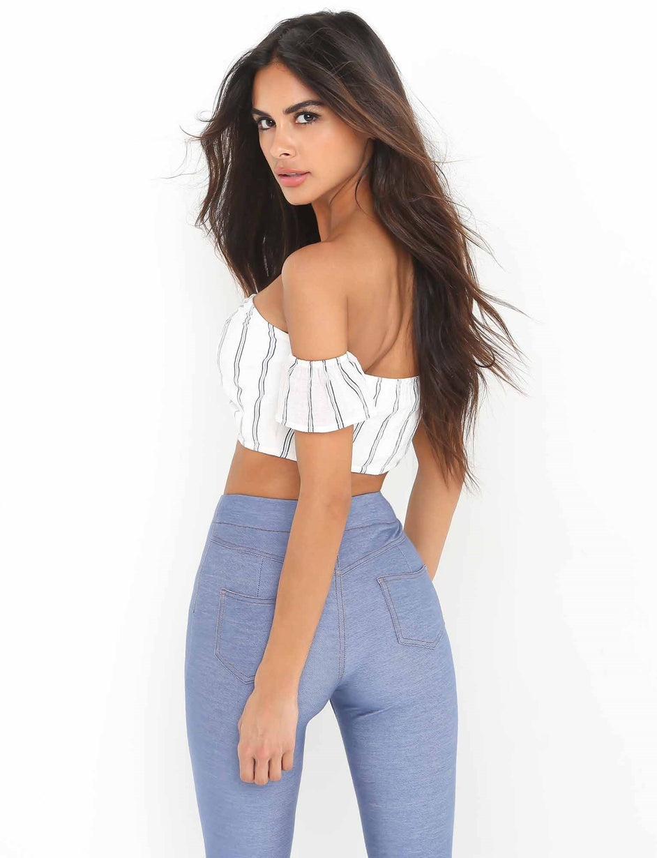 Maria Tie Through Top - Blue/White