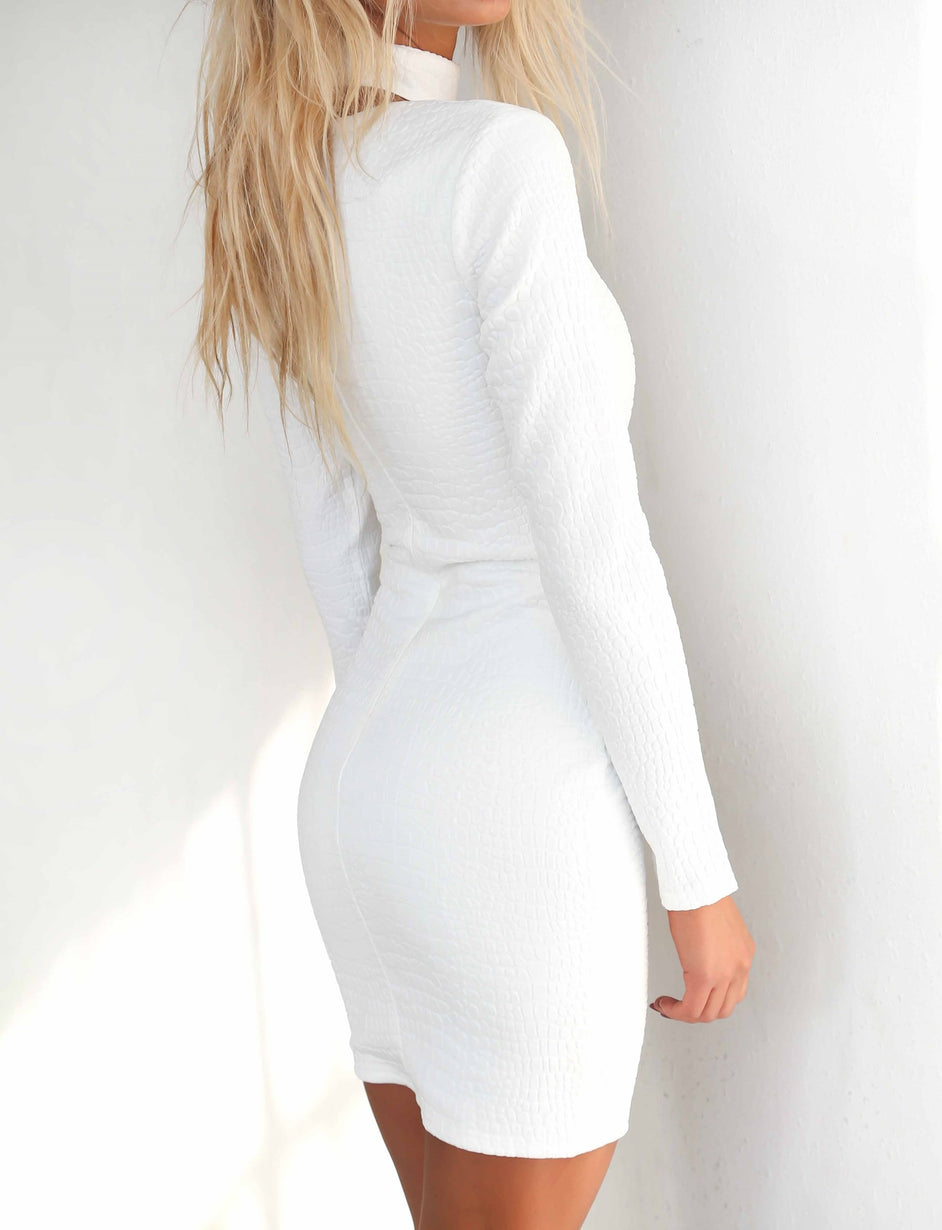 Exposed Dress - White Croc