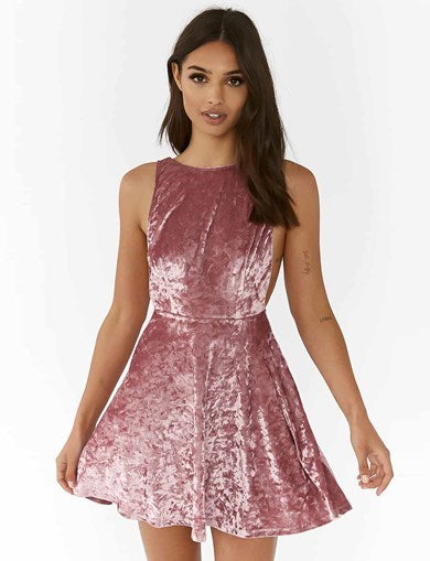 Hit Me Up Dress - Blush Velvet