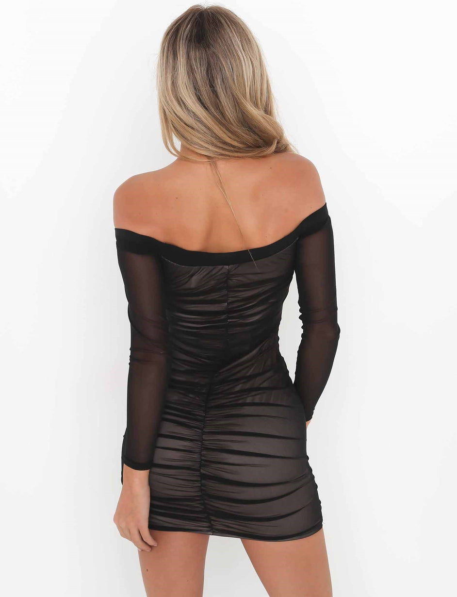 Love Rush Dress - Black Mesh