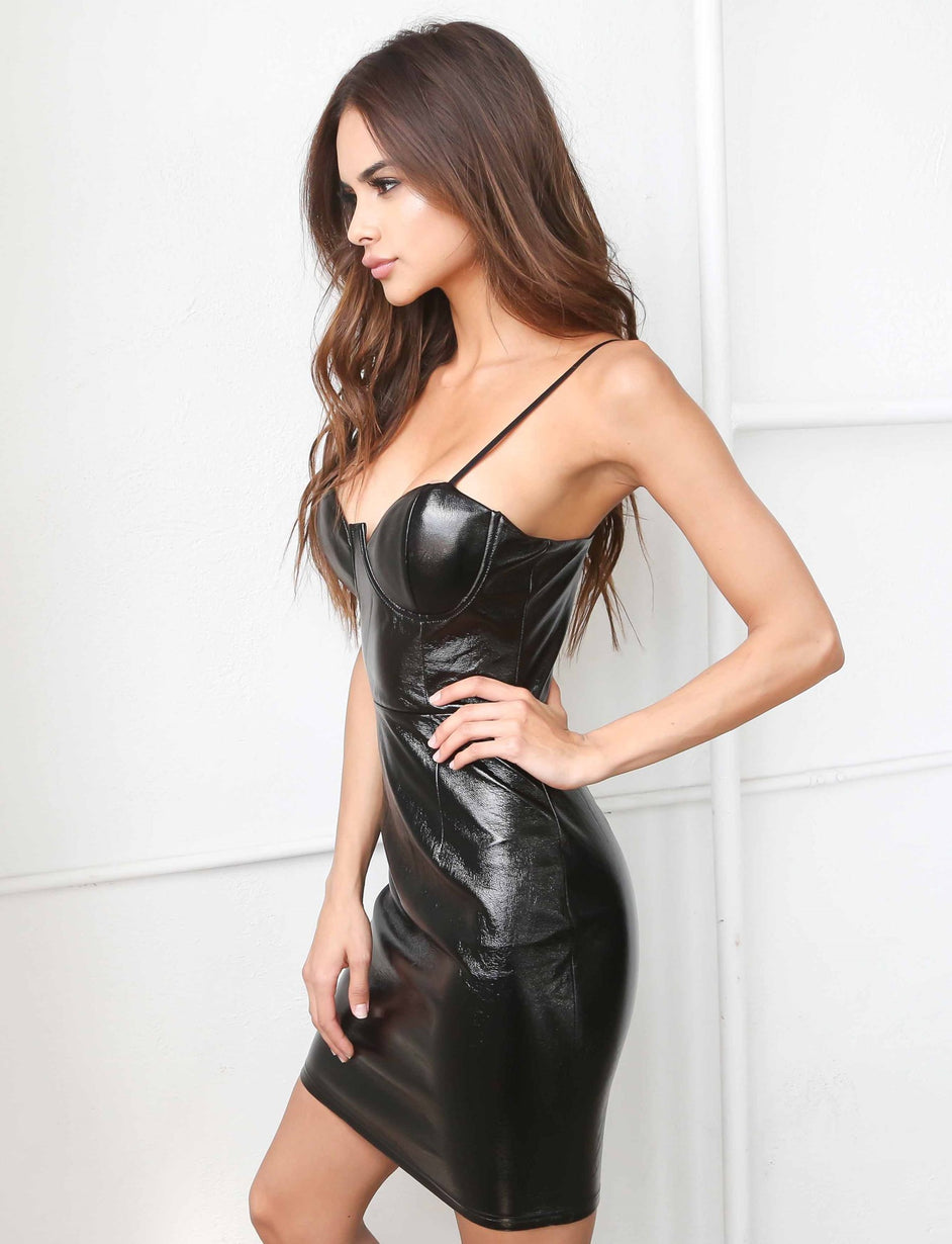 Mina Pu Bustier Dress - Black