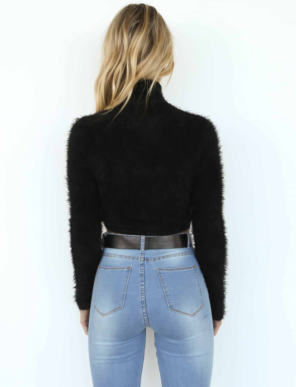 Silence Long Sleeve Knit - Black Fluffy