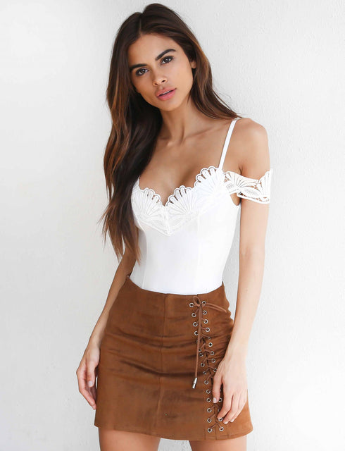 Vixen Lace Up Skirt - Brown