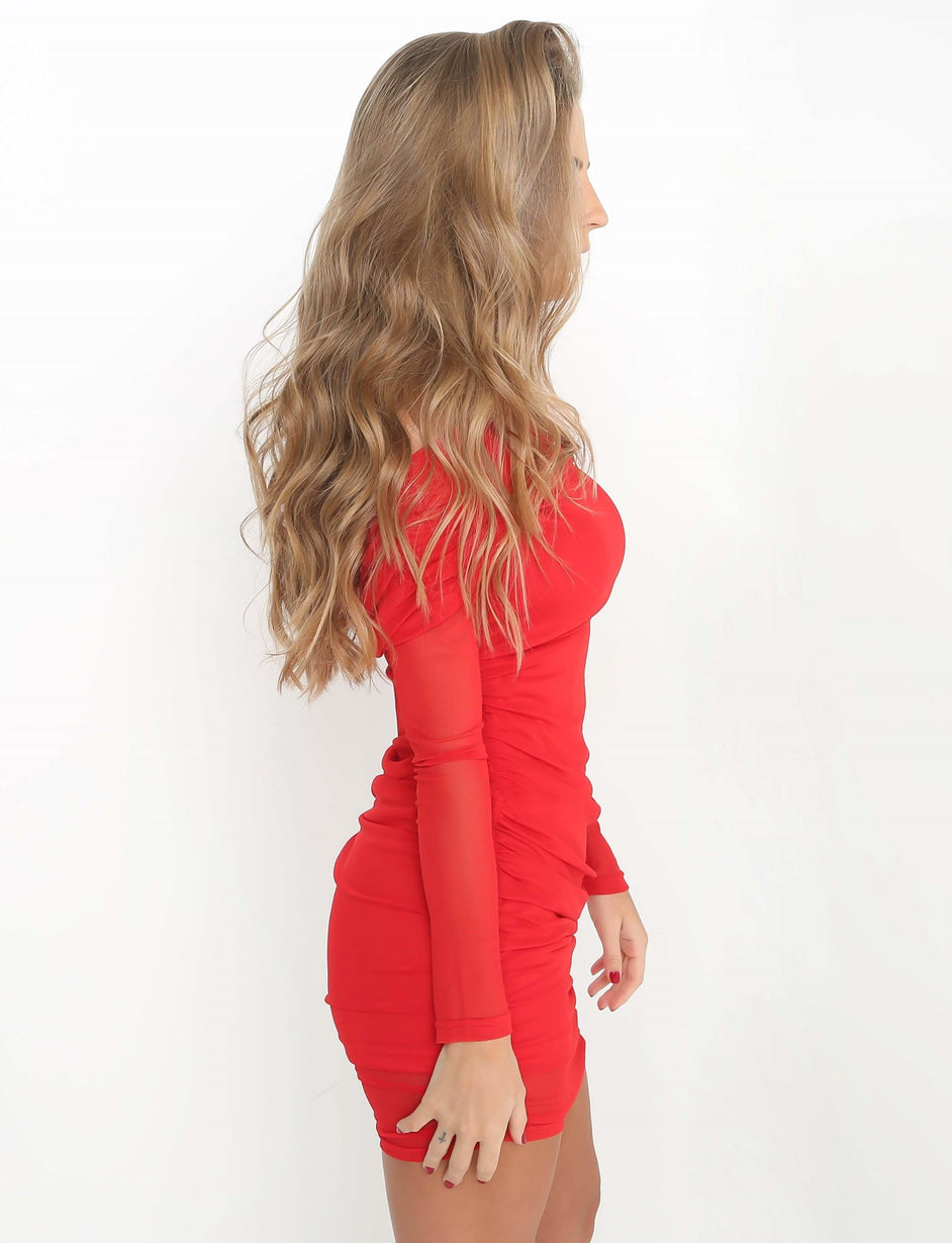 Blondie Dress - Red Mesh