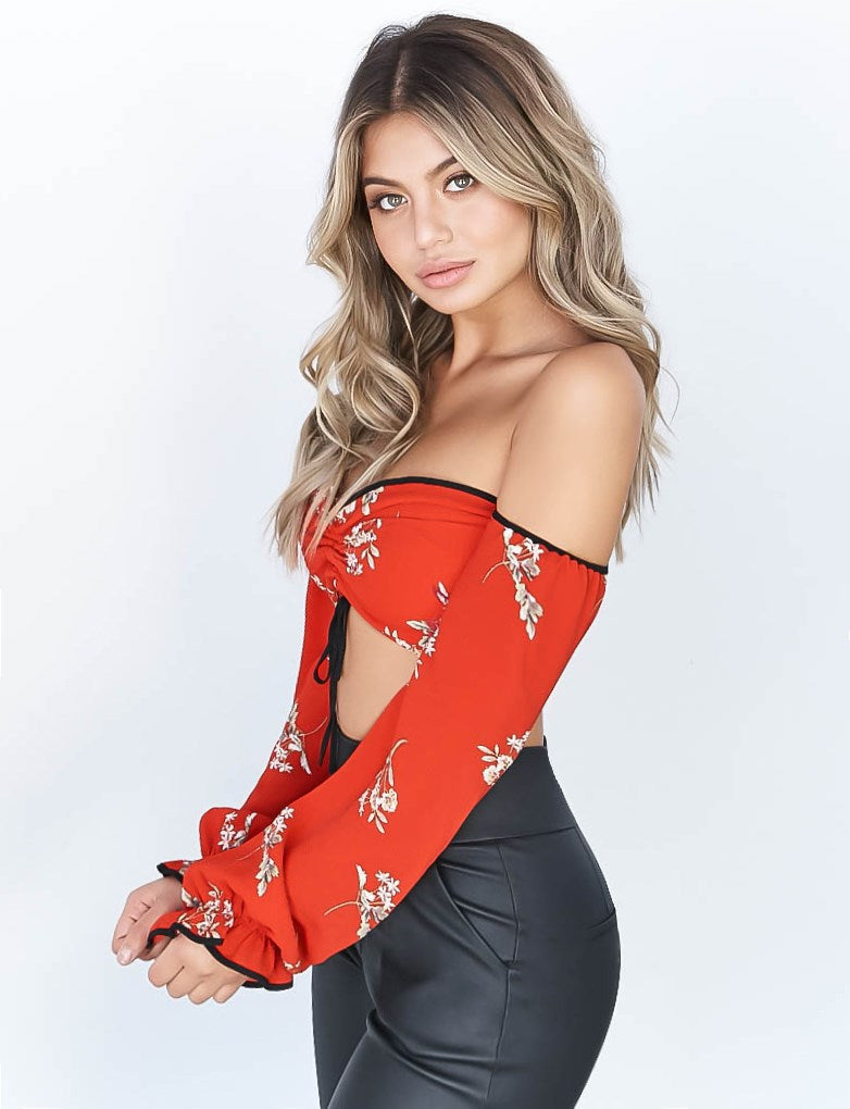Giselle Top - Red Floral