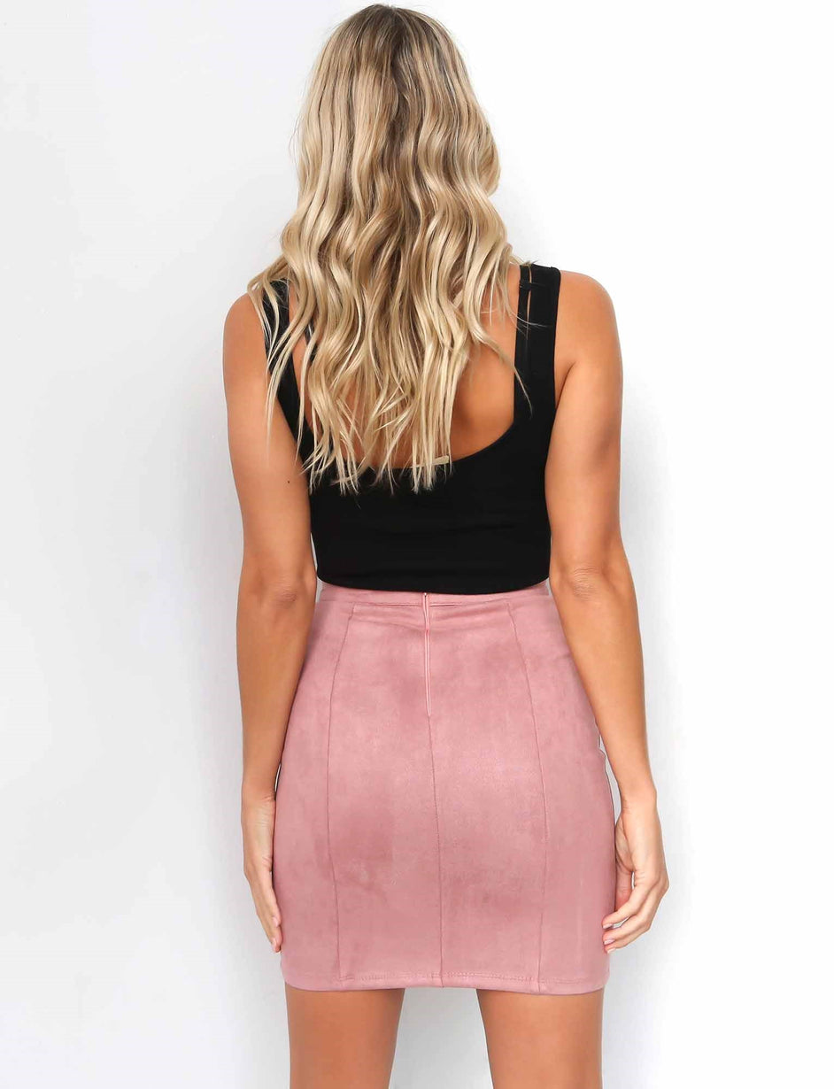 Jade Lace Up Skirt - Rose
